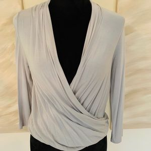 Anthro- Lavender Cross Front Feather Blouse